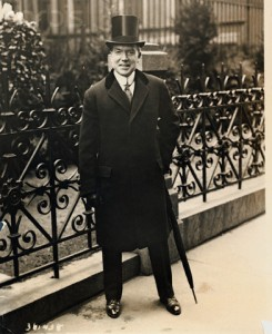 John D. Rockefeller, Jr. Posing in Overcoat and Top Hat Outdoors
