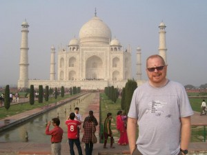 The author in front of the Taj Mahal.