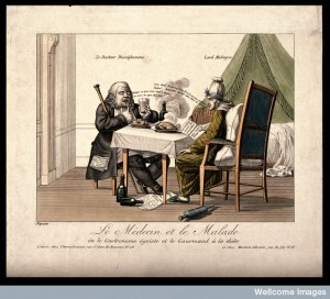 A doctor instructs his English patient not to eat as he does. Credit: Wellcome Library, London.