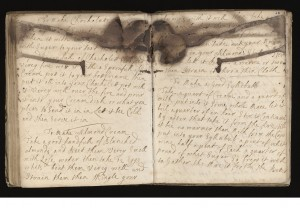 Epicentre of the burn in Wellcome MS 4051. (Thanks to archivist Helen Wakely who told me about this book!) Credit: Wellcome Library, London.