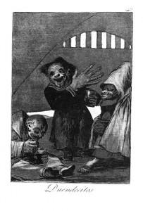 Goya, Duendicitos (elves), Los Caprichos, 1799. Source: Wikimedia Commons.