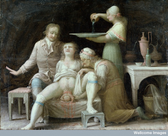 L0015387 A birth-scene. Oil painting by a French (?) painter, Åbo, Sw