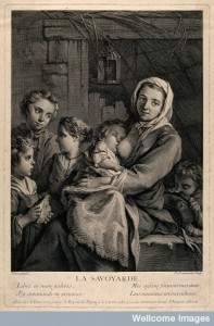A poor woman in a dingy attic, surrounded by her children, one of whom she is breast-feeding. Engraving by N. de Larmessin III after J. Pierre. Image Credit: Wellcome Library, London.