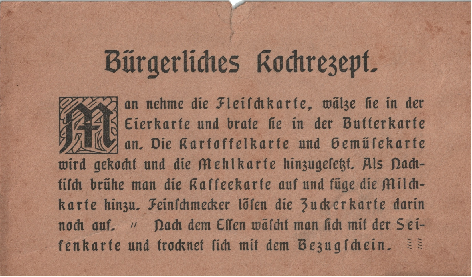 1. German Recipe Postcard 1917