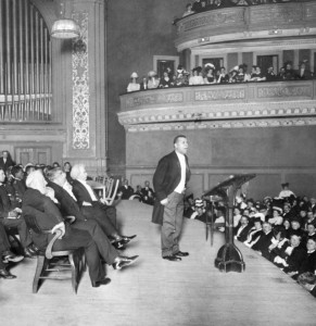 Booker T. Washington addresses an audience in Carnegie Hall, New York City, 1906