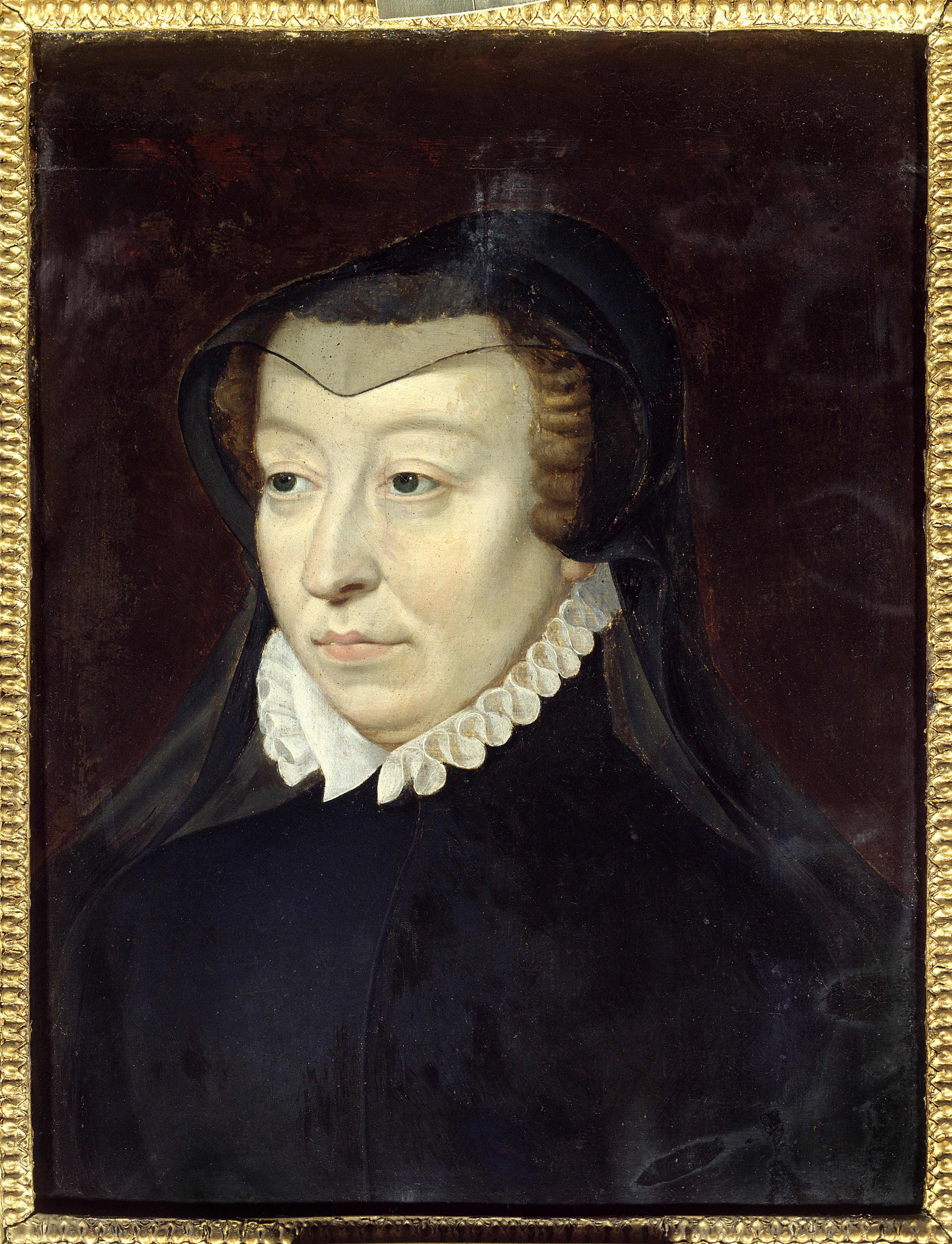 """""""Portrait de Catherine de Medicis (1519-1589), reine de France"""" Peinture d'apres Francois Clouet (vers 1515-1572) Dim. 0,33x0,24 m 16eme siecle Chantilly, musee Conde ©Photo Josse/Leemage"""