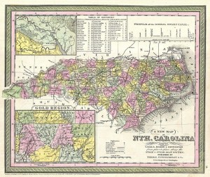An 1950 map of North Carolina, showing the gold regions of the state.