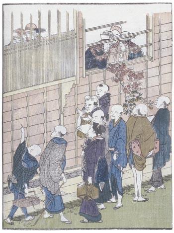 Curious Japanese watching Dutchmen on Dejima Island