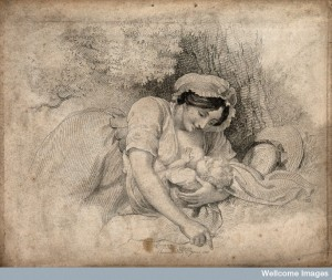 A woman breast feeding her child. Stipple engraving, 1810. Credit: Wellcome Library, London.