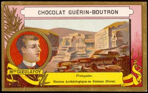 Jane Dieulafoy on the cover of a chocolate wrapper.