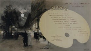 "A commemorative menu by Luigi Loir for the 250th dinner of ""La Marmite,"" a Parisian literary-artistic association. From the Bibliothèque Historique de la Ville de Paris."