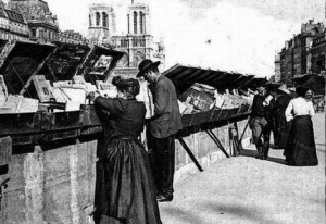 Shopping at the bouquinistes in 1900.