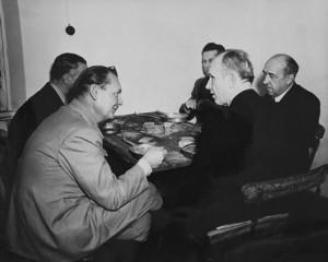 Nazi leaders Hermann Göring, Karl Dönitz, Walther Funk, Baldur von Schirach and Alfred Rosenberg dine during their war crimes trial.