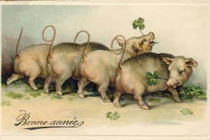 A French New Year's Eve Postcard (see Michael Garvel's excellent article on French pig postcards here)