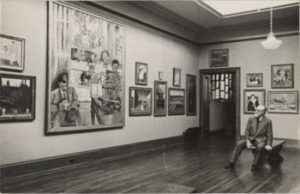 Matisse viewing his paintings at the Barnes gallery
