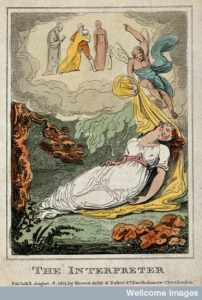 V0047952 A sleeping woman is disturbed in her dreams by a winged figu Credit: Wellcome Library, London. Wellcome Images images@wellcome.ac.uk http://wellcomeimages.org A sleeping woman is disturbed in her dreams by a winged figure pointing to five people in the clouds above; representing the interpretation of dreams. Coloured etching. 1811 Published: 8 August 1811 Copyrighted work available under Creative Commons Attribution only licence CC BY 4.0 http://creativecommons.org/licenses/by/4.0/