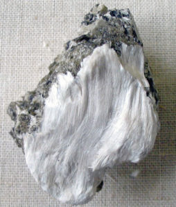 Fibrous tremolite asbestos on muscovite. Credit: Wikimedia Commons.