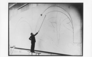 Matisse drawing with a bamboo stick