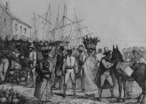 Street scene in colonial Haiti